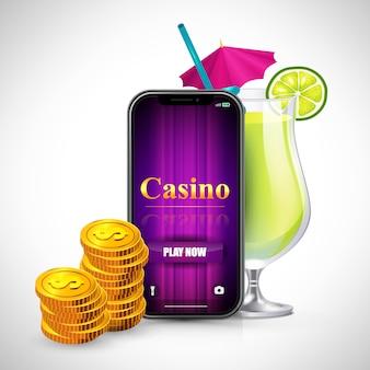 Casino jogar agora lettering na tela do smartphone, pilhas de moedas e coquetel