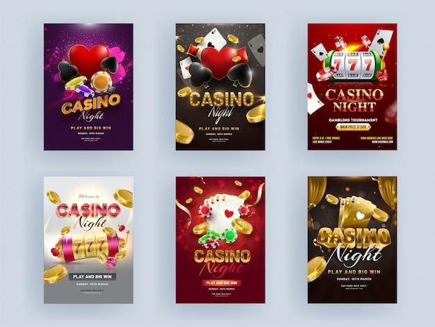 Casino noite festa flyer design com slot machine 3d, cartas de jogar, moedas de ouro e poker chip em fundo de cor diferente.
