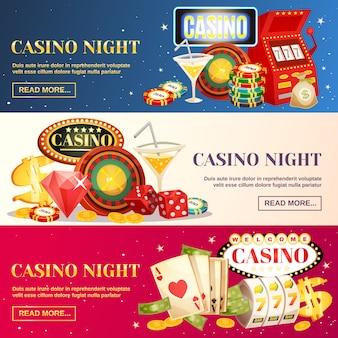 Casino noturno três banners horizontais