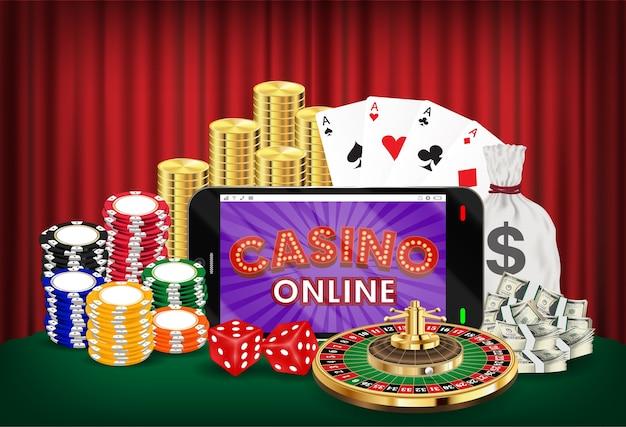 Casino on-line smartphone dados cartão roulette chips