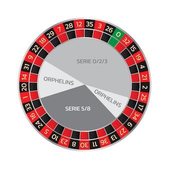 Casino online de roda de roleta europeia com séries. ilustração em vetor estilo realista isolada no fundo branco.