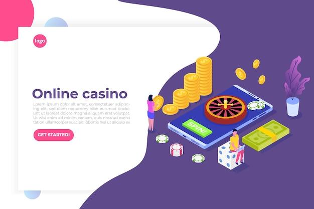 Casino online, jogos de azar online, ilustração isométrica de aplicativos de jogos