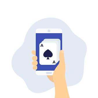 Casino online, pôquer, telefone na mão, vetor