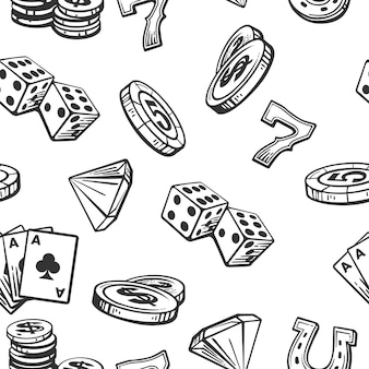 Casino padrão conjunto de símbolos.
