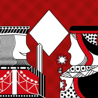 Casino poker queen and king diamond card game