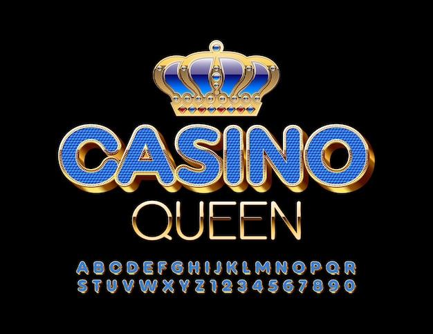Casino queen com fonte azul e dourada. letras e números do alfabeto elite de luxo