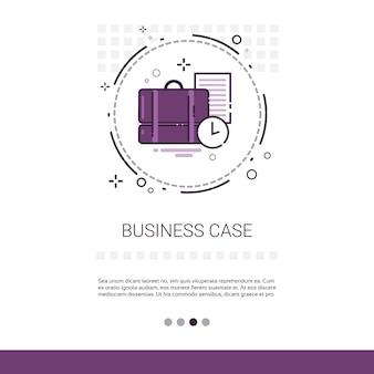 Caso com banner da web de negócios de contrato de documento Vetor Premium