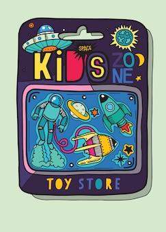 Caso de brinquedo existem muitos brinquedos dentro, brinquedos de espaço