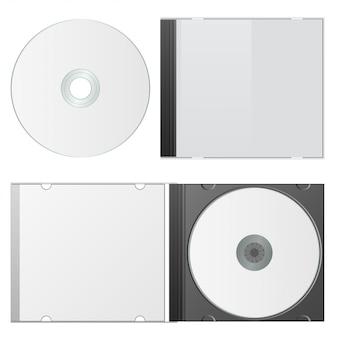 Caso em branco e disco. modelo de embalagem cd. ilustração vetorial.