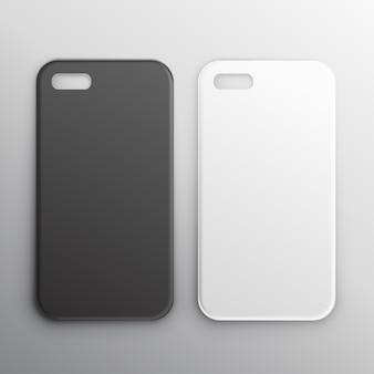 Casos do smartphone preto e branco vazios definir