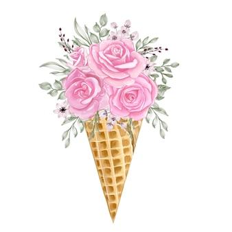 Casquinha de gelo com flor em aquarela ilustração rosa rosa