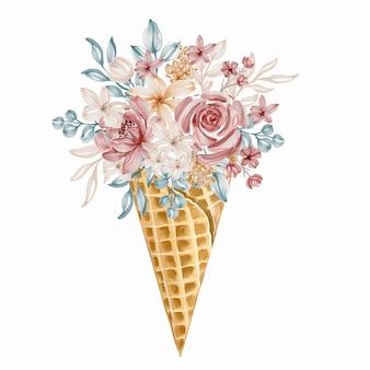 Casquinha de sorvete com buquê de flores coloridas