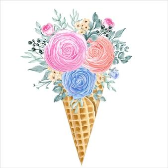 Casquinha de sorvete com flores de ranúnculo doce