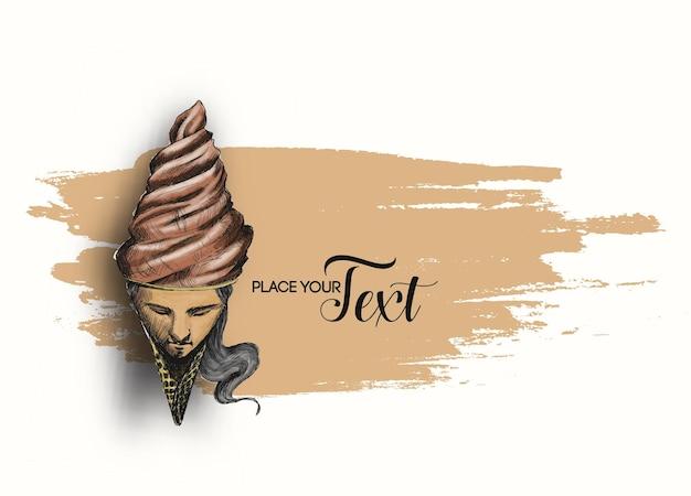 Casquinha de sorvete com rosto feminino. ilustração em vetor esboço desenhado à mão