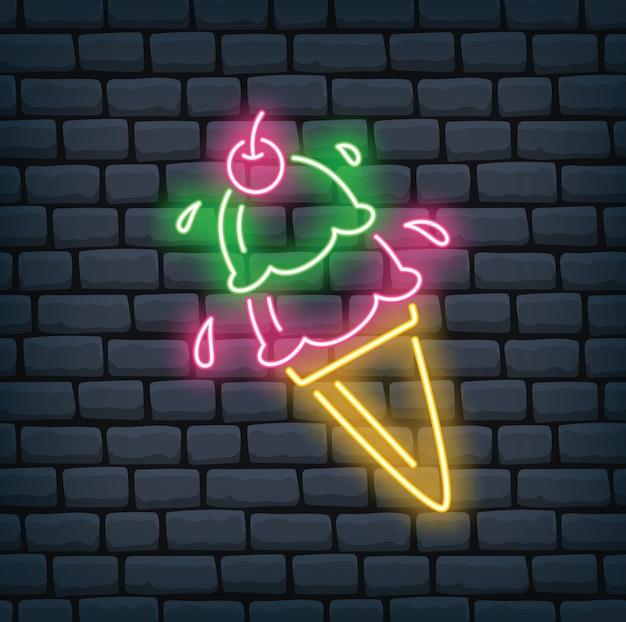 Casquinha de sorvete em ilustração vetorial de efeito néon