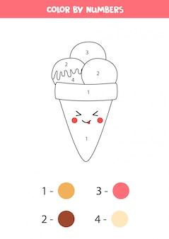 Casquinha de sorvete kawaii bonito de cor por números.