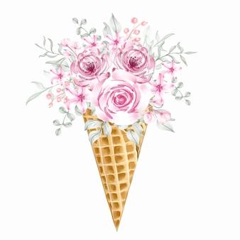 Casquinha de sorvete rosa com buquê de flores selvagens