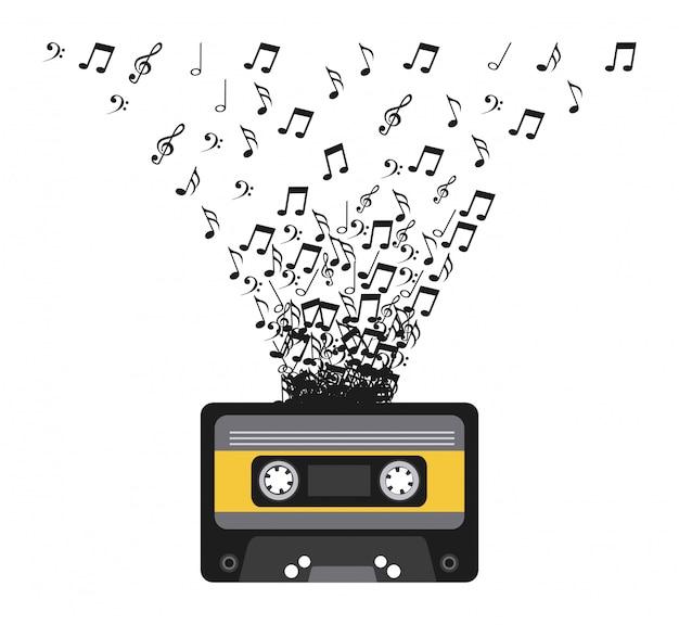 Cassete com ilustração vetorial de notas musicais