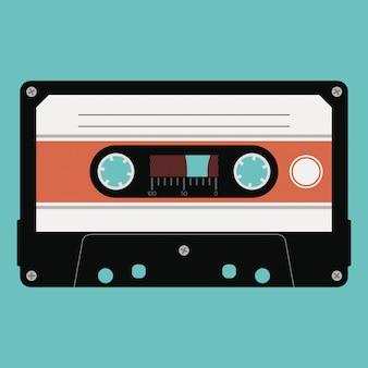 Cassete de áudio com fita plástica em uma caixa opaca isolada