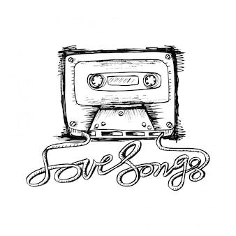 Cassete de áudio com letras de música de amor.