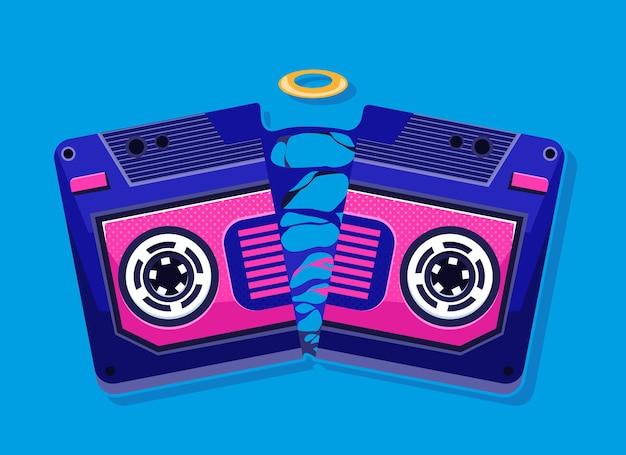 Cassete de fita. mixtape retro.