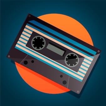 Cassete de música retro wave dos anos 80