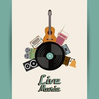 Cassete falante vinil guitarra rádio gramaphone ícone