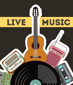 Cassete vinil guitarra rádio gramaphone ícone