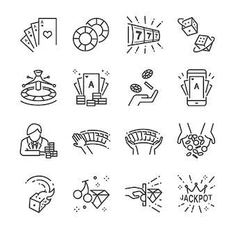 Cassino e gamble linha conjunto de ícones.