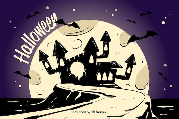 Castelo abstrato de uma noite de lua cheia