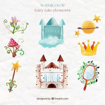 Castelo aguarela bonito e elementos de contos de fadas