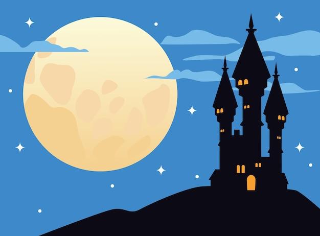 Castelo assombrado com ilustração em vetor cena de lua cheia em lua cheia