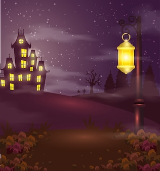 Castelo assombrado com lâmpada na cena de halloween