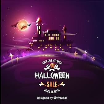 Castelo assombrado na venda de halloween à noite
