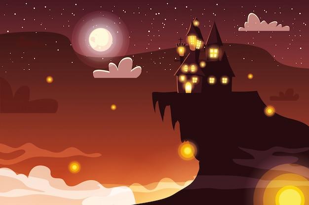 Castelo assustador com lua em cena de halloween