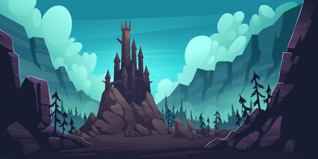 Castelo assustador na rocha à noite, palácio gótico assombrado nas montanhas, edifício com telhados pontiagudos, janelas brilhantes e morcegos voando no céu escuro. casa do drácula da fantasia, ilustração vetorial