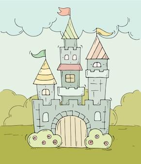 Castelo bonito dos desenhos animados para príncipe e princesa