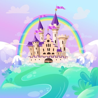 Castelo bonito dos desenhos animados.