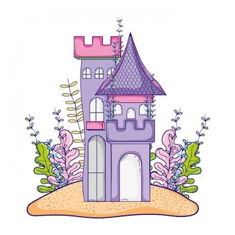 Castelo bonito na ilha com plantas de algas