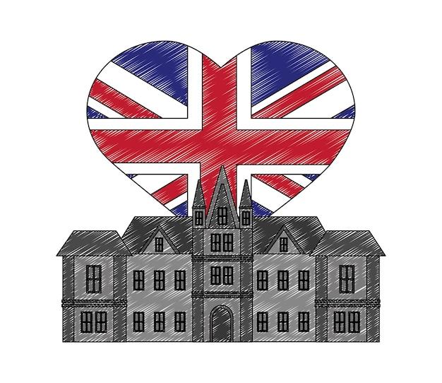 Castelo britânico, com, bandeira, de, grã bretanha, em, forma, coração