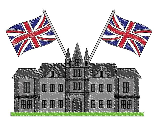 Castelo britânico com bandeiras da grã-bretanha