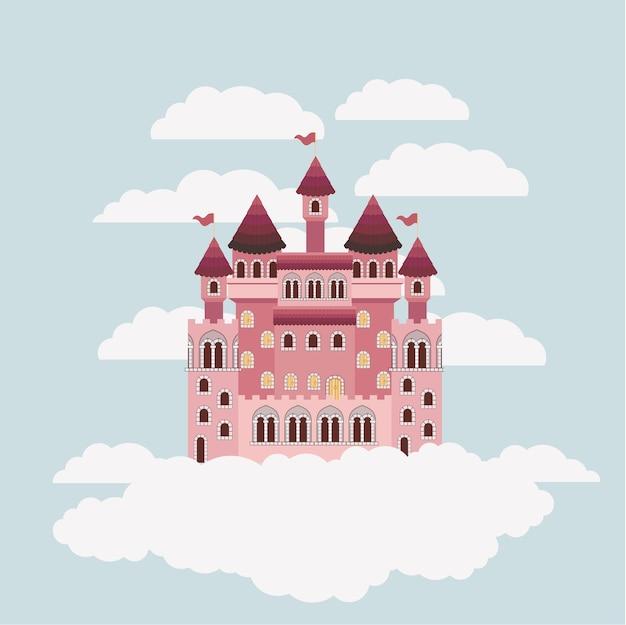 Castelo colorido de contos de fadas no céu, cercado por nuvens