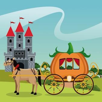 Castelo com paisagem de cavalo de calabaza