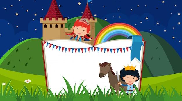 Castelo com príncipe e princesa