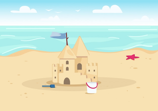 Castelo de areia na ilustração de cor da praia. entretenimento de férias de verão para crianças. castelo de areia e brinquedos para crianças no litoral dos desenhos animados paisagem com água no fundo