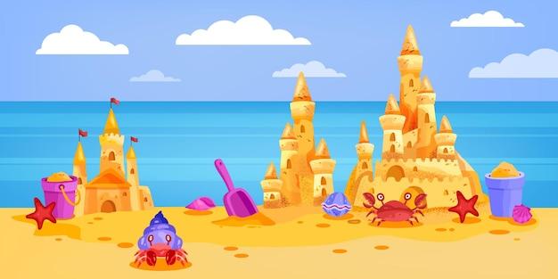 Castelo de areia verão praia ilustração desenho animado paisagem céu nuvens caranguejo oceano balde