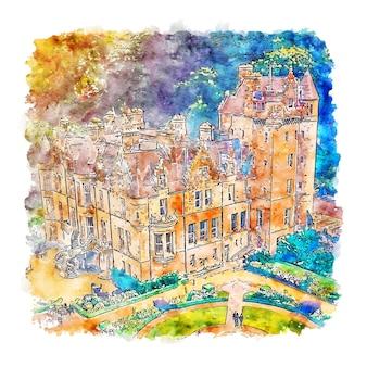 Castelo de belfast, irlanda, esboço em aquarela desenhado à mão