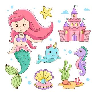Castelo de conchas de cavalo marinho de narval pequena sereia fofa e desenho animado da vida marinha