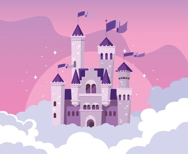 Castelo de construção de conto de fadas no céu com nuvens