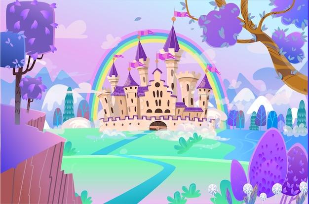 Castelo de conto de fadas bonito dos desenhos animados castelo de conto de fadas fantasia palácio com arco-íris